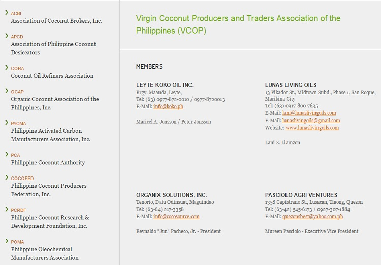 VCOP directory of virgin coconut oil producers and traders